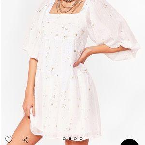 Star Babydoll Dress w Puff Sleeve